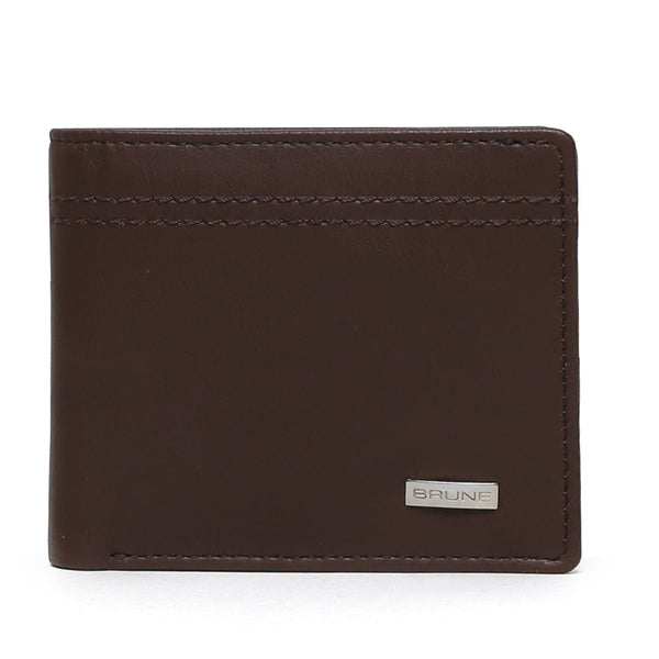 Brown Parallel Stitched Line Leather Wallet By Brune