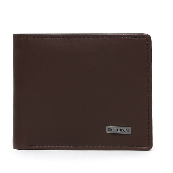Classic Brown Gunmetal Plate Leather Wallet By Brune