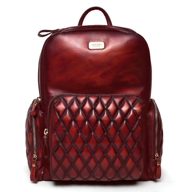 Brune Wine Classic Stitched Hi-Veg Tanned Leather Backpack/Laptop Bag