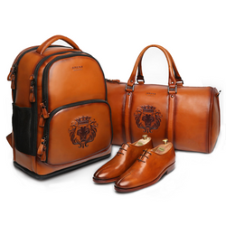 Tan Luxurious Leather BRUNE Travel Combo of Backpack, Duffle bag and Shoe