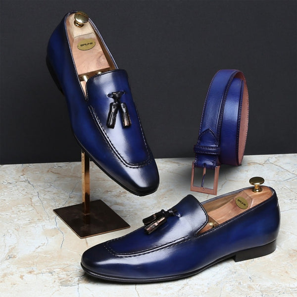 COMBO OF SMOKY BLUE TASSEL LEATHER SHOES BY BRUNE AND MATCHING BLUE BELT
