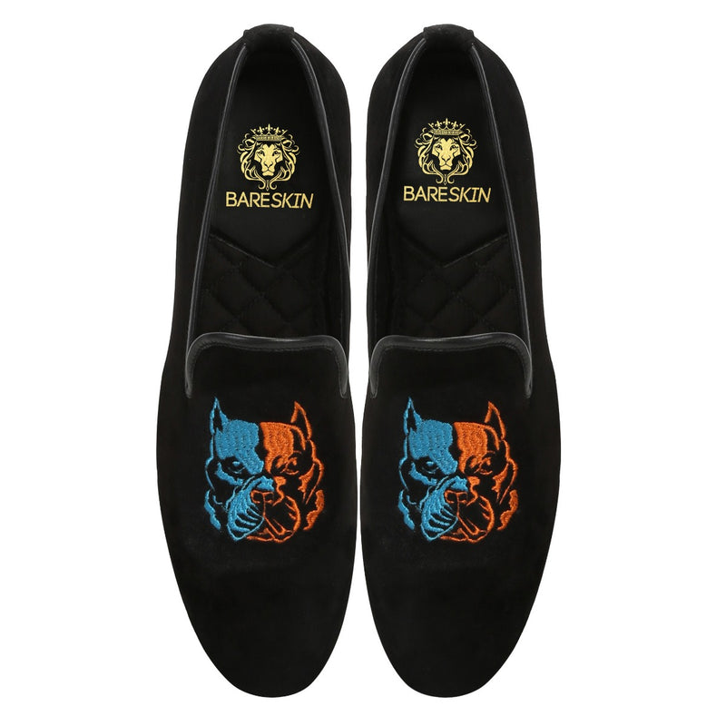 Pitbull Two Shade Embroidery Black Velvet Slip-On By Bareskin