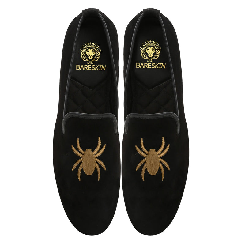 Light Brown Spider On Black Velvet Slip-Ons By Bareskin