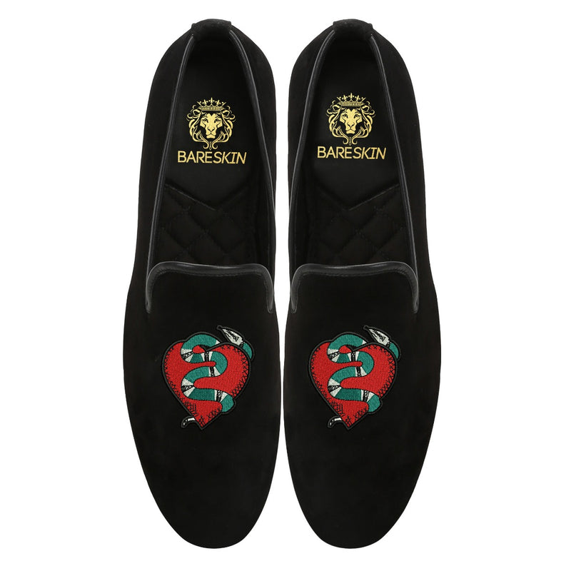 Snake Wrapped Heart Embroidery Black Velvet Slip-Ons By Bareskin