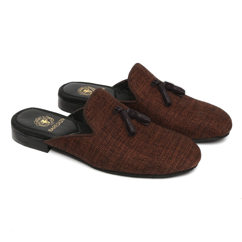 Brown Jute Tassel Mules By Bareskin