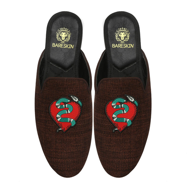 Snake Wrapped Heart Embroidery Brown Mules By Bareskin