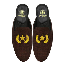Star Wreath Embroidery Brown Mules By Bareskin