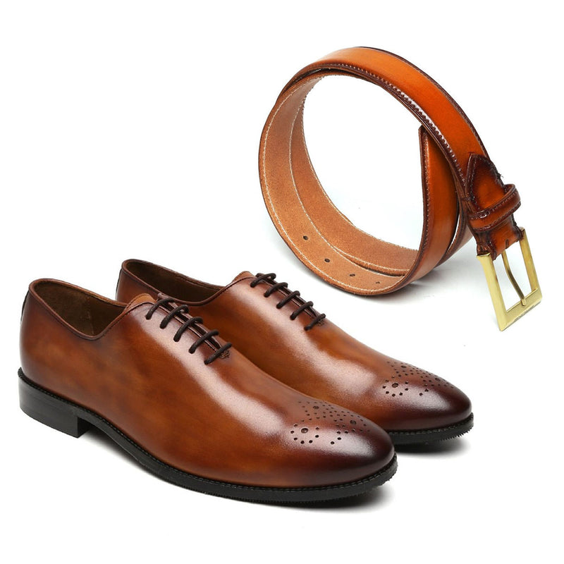 TAN WHOLE CUT OXFORD WITH TAN GOLDEN MATTE LEATHER BELT (TEAM INDIA COMBO)