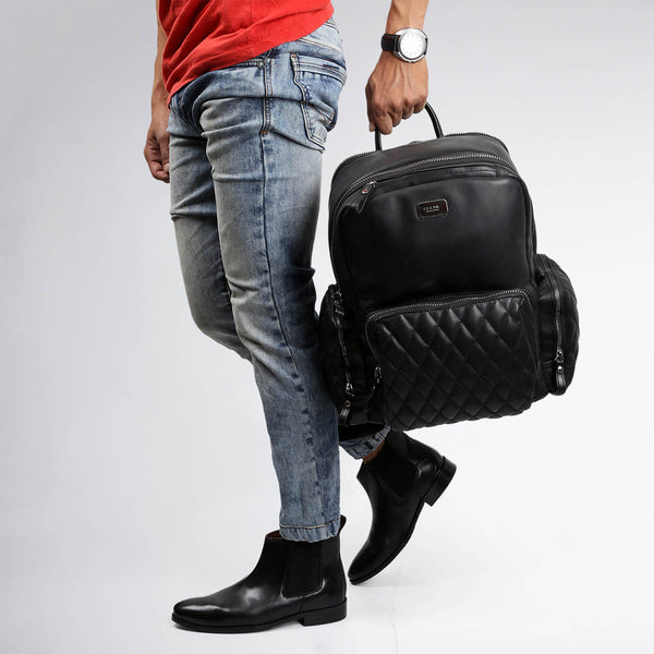 BLACK BOOTS WITH LEATHER BACKPACK BAG TRAVEL COMBO