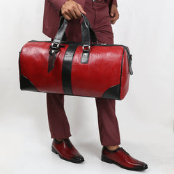 RED DUFFLE BAG AND DEEP RED OXFORD BROGUE SHOES COMBO