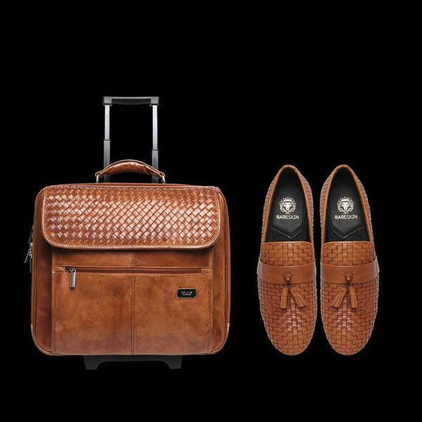 TAN HAND WEAVING TROLLEY BAG AND FOOTWEAR COMBO