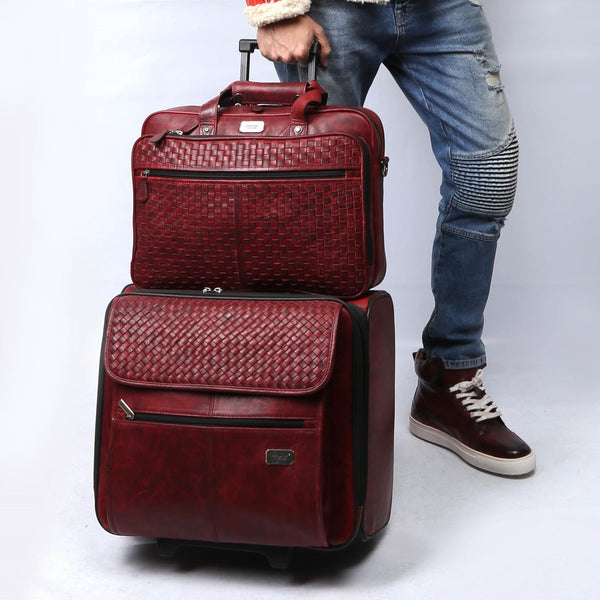 Wine Travel Combo of Sneakers, Strolley Bag and Laptop Briefcase