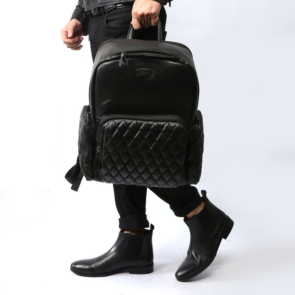 RICH BLACK COMBO OF LEATHER BACKPACK AND BOOTS