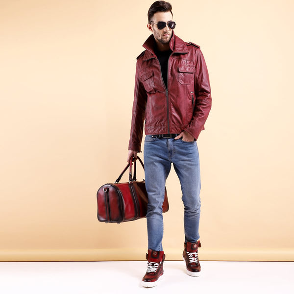 TRAVEL COMBO OF WINE LEATHER JACKET, DUFFLE BAG AND SNEAKERS