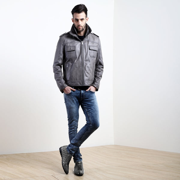 SMOKEY GREY COMBO OF LEATHER JACKET AND DIAMOND STITCHED SNEAKERS