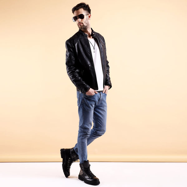 Cozy Look Combo of Black Leather Jacket and Ultra Light Weight Biker Boot