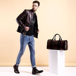 Rich Brown Leather Combo of Jacket with Duffle Bag and High Ankle Boots