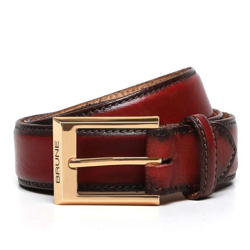 Brune Wine With Golden Buckle Hand Painted Leather Formal Belt For Men