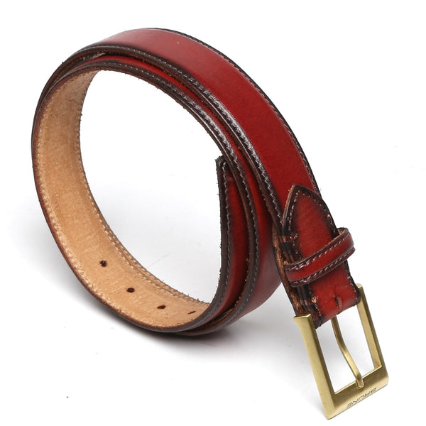 Brune Wine With Golden Mat Buckle Hand Painted Leather Formal Belt For Men