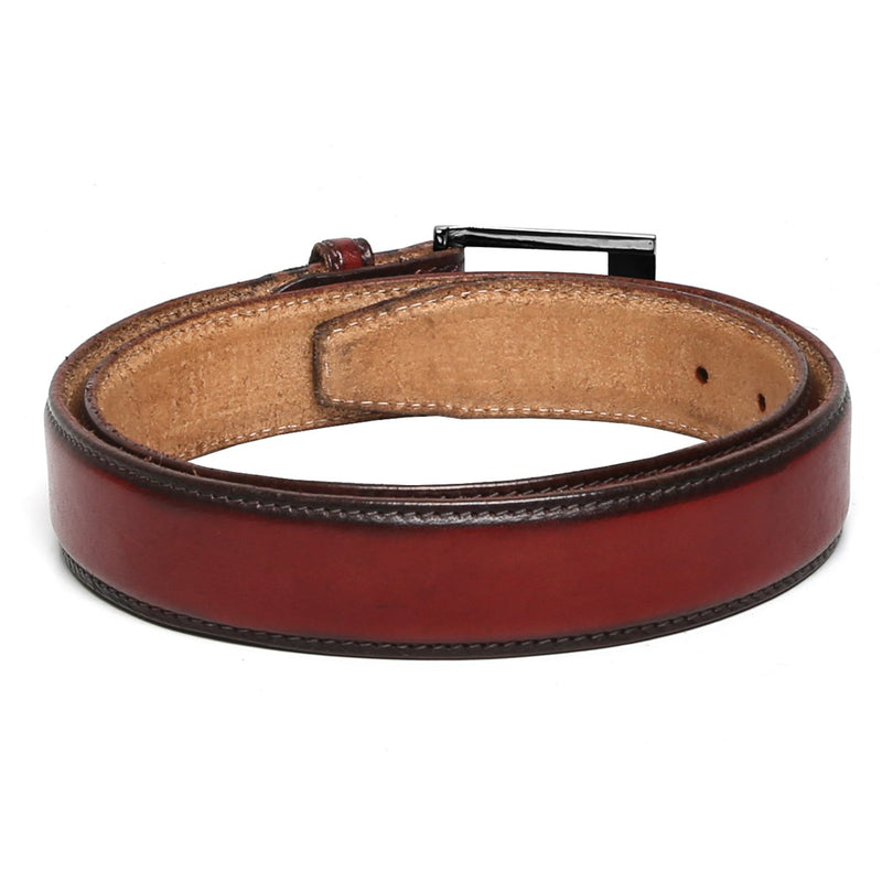 Brune Wine With Gun Metal Buckle Hand Painted Leather Formal Belt For Men