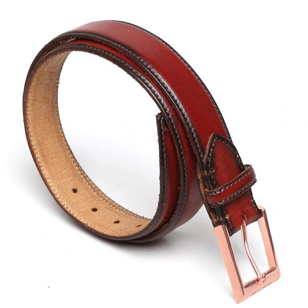 Brune Wine With Rose Gold Buckle Hand Painted Leather Formal Belt For Men