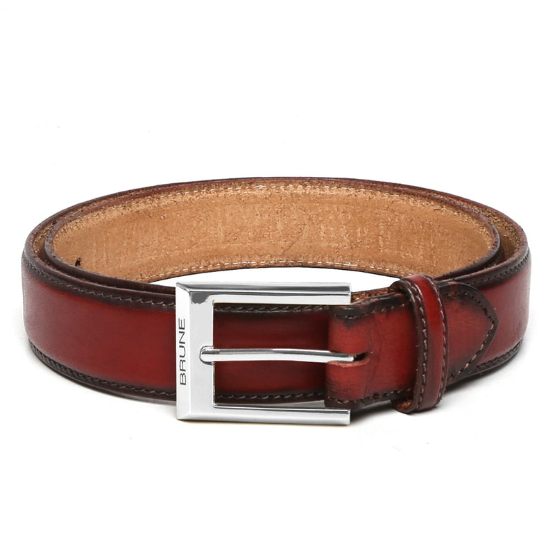 Brune Wine With Silver Square Buckle Hand Painted Leather Formal Belt For Men