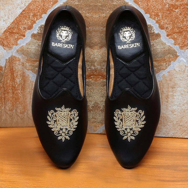 Black Leather Ethnic Crest Zardosi Jalsa By Bareskin