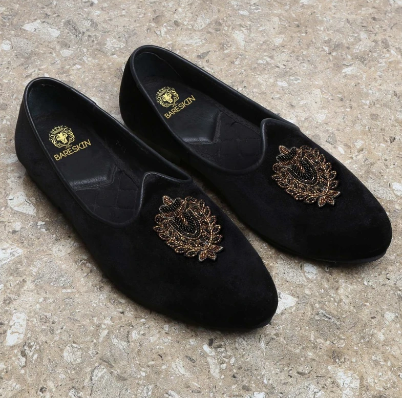 Black Golden Royal Crest Zardosi Velvet Jalsa By Bareskin