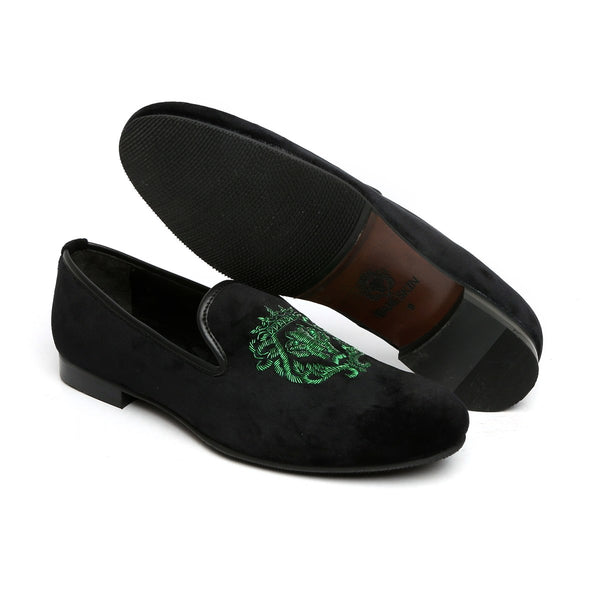 Green Crown Bareskin Lion Zardosi Black Velvet Slip-On