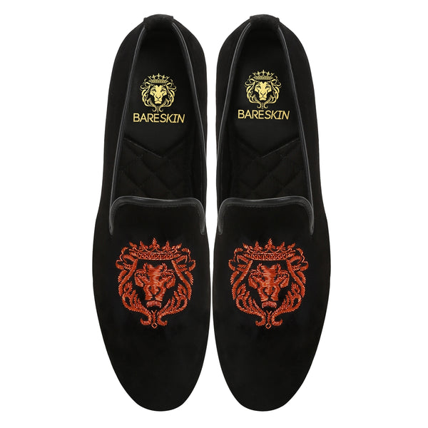 ORANGE BARESKIN LION ZARDOSI BLACK VELVET SLIP-ON