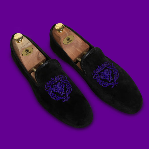 Violet Bareskin Lion Zardosi Black Velvet Slip-On