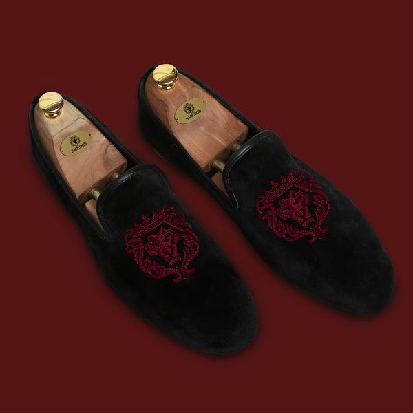 Wine Bareskin Lion Zardosi Black Velvet Slip-On
