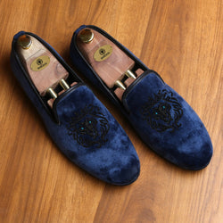Blue Velvet Black Lion Zardosi Velvet Slip-On by BARESKIN