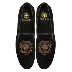 Copper Gold Lion Zardosi Black Velvet Slip-On by BARESKIN