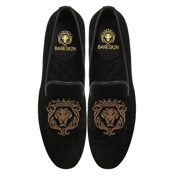 COPPER GOLD BARESKIN LION ZARDOSI BLACK VELVET SLIP-ON