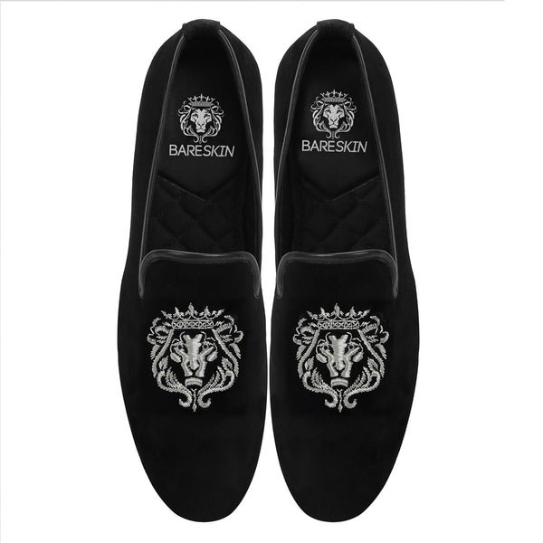 Silver Lion Zardosi Black Velvet Slip-On by BARESKIN