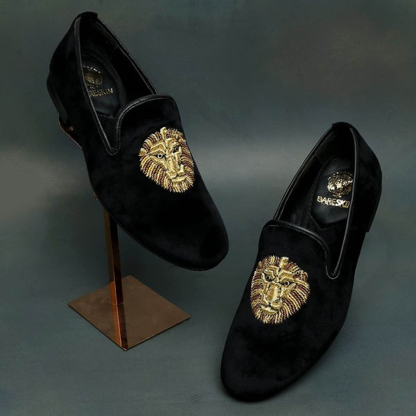 Zardosi Lion Black Velvet Slip-On By BARESKIN