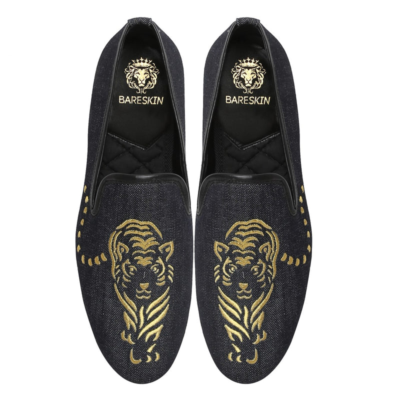 Tiger Embroidered Denim Men Slip-Ons By Bareskin