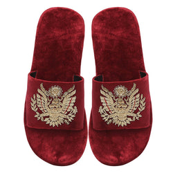 Red Royal Crest Zardosi All Velvet Slide In Slippers By Bareskin