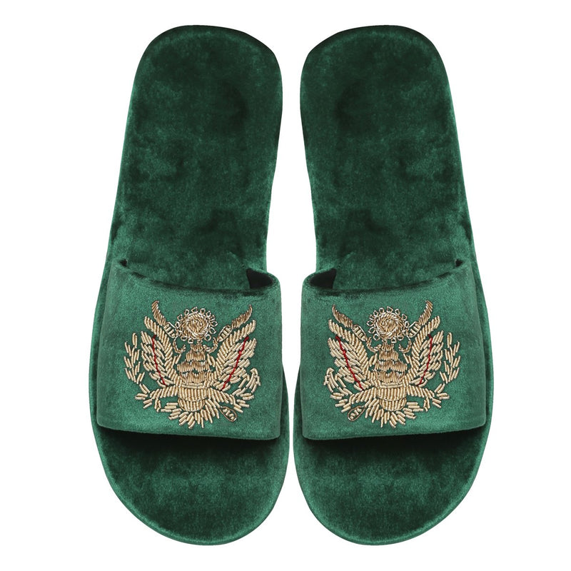 Green Royal Crest Zardosi All Velvet Slide In Slippers By Bareskin