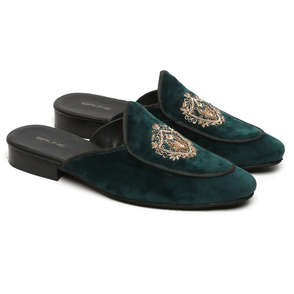 Green Italian Velvet Golden Crest Zardosi Mules By Brune
