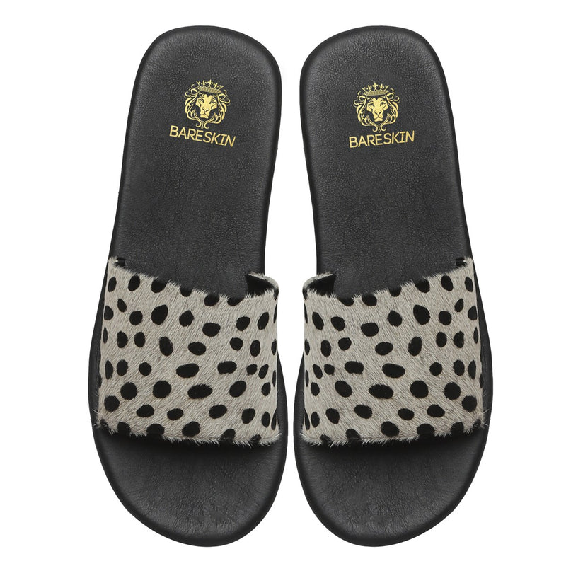 White Cheetah Print Hairon Leather Slide-In Slippers By Bareskin