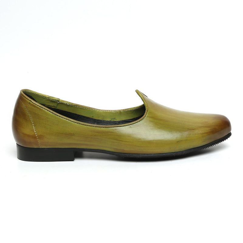 Olive Green Paint Brush Look Leather Jalsa Jutti By Bareskin