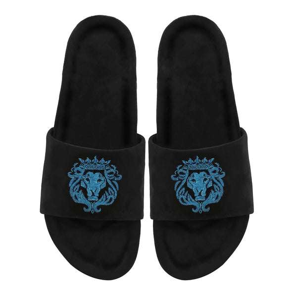 Cyan Bareskin Lion Zardosi Black Full Velvet Slide-In Slippers