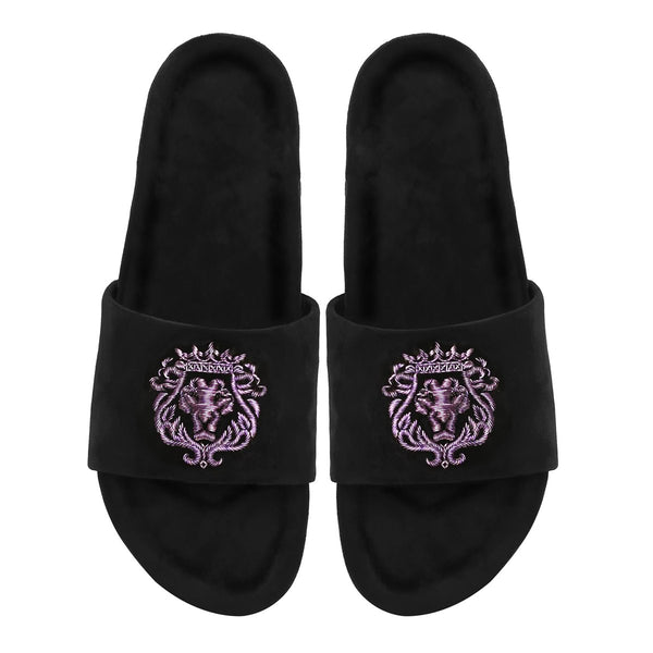 Purple Bareskin Lion Zardosi Black Full Velvet Slide-In Slippers