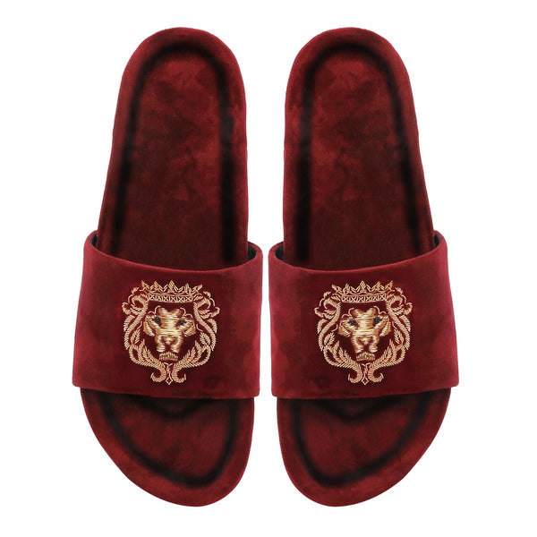 Golden Bareskin Lion Zardosi Red Full Velvet Slide-In Slippers