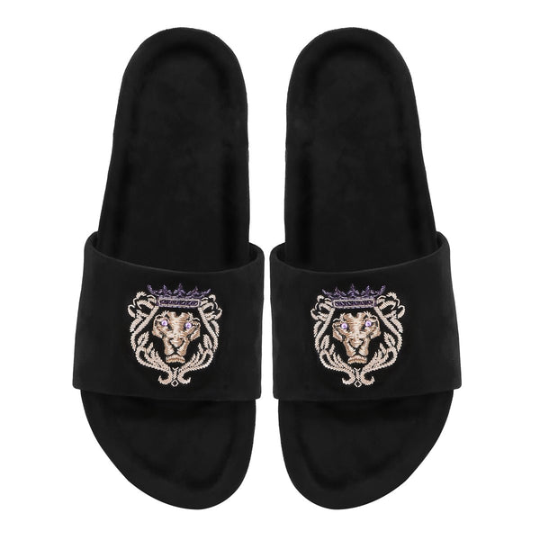 Purple Crown Bareskin Lion Zardosi Red Full Velvet Slide-In Slippers