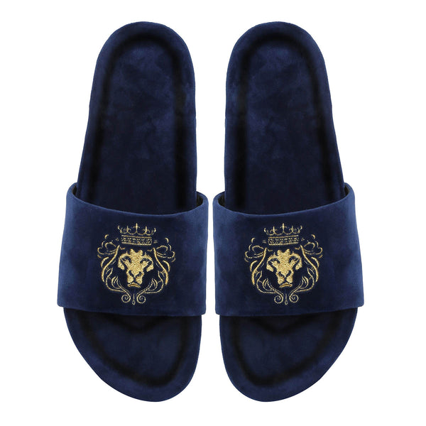Hale | Golden Lion Blue Velvet Slide-In Slippers By Bareskin