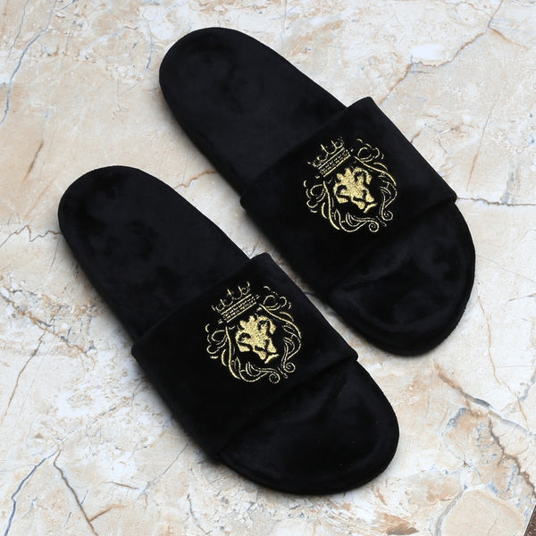 Hale | Golden Lion Black Velvet Slide-In Slippers By Bareskin