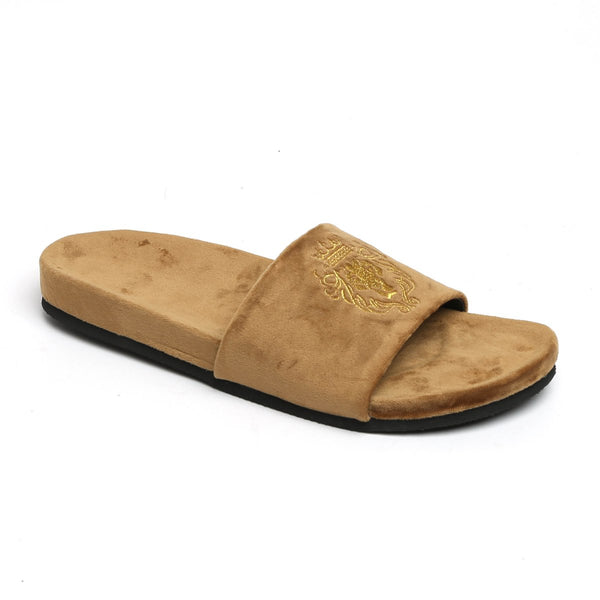 Hale | Golden Lion Tan Velvet Slide-In Slippers By Bareskin